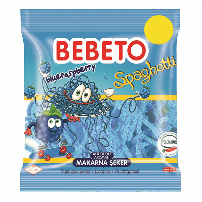 Blue Raspberry Spaghetti - Halal Jellies Jelly Sour Sweets Bebeto 80g
